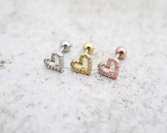 Dainty Heart Earrings/Piercing/Tragus Earring/Cartilage earring/Tragus Piercing/Cartilage piercing/Tragus stud/Helix Earring/conch earring