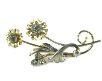 Retro Gold over 925 Sterling Silver  Vermeil Flower Motif Pin