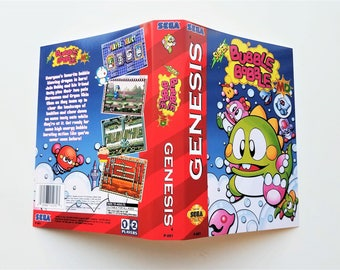 Super Bubble Bobble MD Game / Case for Sega Genesis Custom Cart & Box