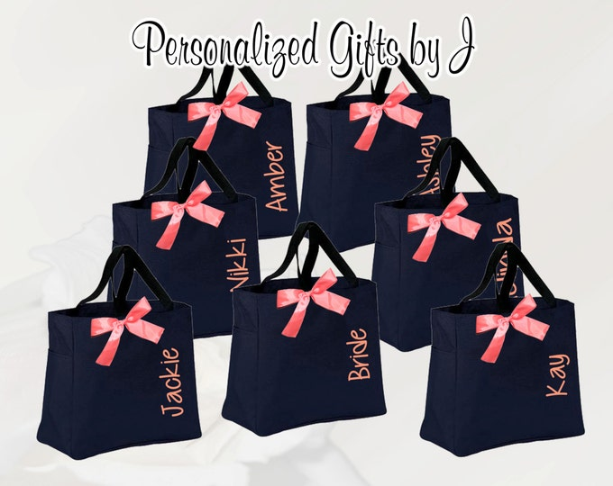 7 Bridesmaid Tote Bag, Personalized Bridesmaid Gift Tote Bag- Bridesmaid Gift- Personalized Bridemaid Tote - Wedding Party Gift - Name Tote-