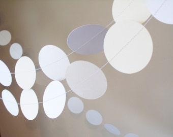"White Paper Garland  2"" circle paper garland custom length art deco wedding decoration party decoration glamor decoration white papergarland"