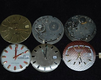 6 Industrial Looking Movments with Dials Faces Steampunk Altered Art Industrial