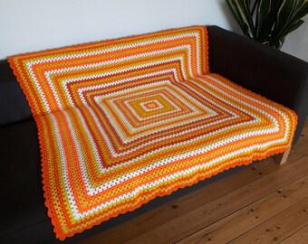 Orange Throw Blanket Crochet Blanket Granny Square Blanket Crochet Afghan Yellow Blanket Orange Blanket FREE SHIPPING
