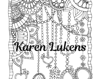Charms, 1 Adult Coloring Book Page, Printable Instant Download