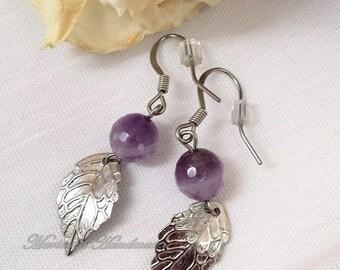 Stainless steel & semi-precious stone earrings, Stainless steel earrings, Dangle leaf earrings, Amethyst, Black Jasper, handmade, MHM0024EA