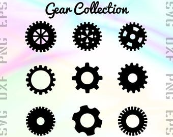 Gear SVG Files - Gear Dxf Files - Gear Clipart - Mechanical Cricut Files - Gear Cut Files - Gear Silhouette - Svg, Dxf, Png, Eps Vectors