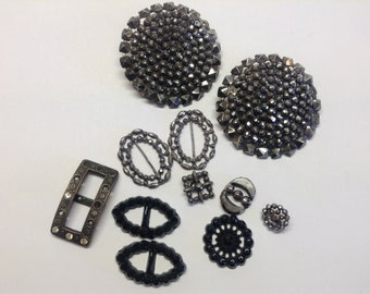 Cut Steel Buttons, Antique Jet Buckles, Old Buttons