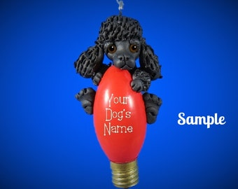 BLACK Poodle Dog Christmas Holidays Light Bulb Ornament Sally's Bits of Clay PERSONALIZED FREE with dog's name