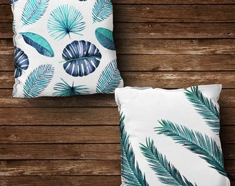 Navy Blue Pillow Cowers, Palm  Pillows, Decorative Pillow, Outdoor Pillow, Leaves Pillow, All Sizes, Pillow , Checkered Pillow, Palm Tree