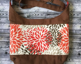 Hobo Bag; Blooms Shoulder or Crossbody Hobo; Slouchy Bag; Messenger Bag Canvas; Crossbody Tote; Tote Bag; Customize Your Cross Body Purse