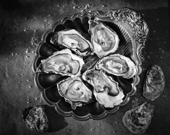 Seafood Photography - Oysters Fine Art Photograph - Still Life Print - Black and White Oyster Print