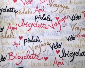 Fabric with words.  Bicyclette.  Pedals. Alice Kennedy.  Timeless Treasures.  Quilting Cotton Fabric.  Choose your cut.