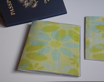 Green Passport Cover, Lime Green & Blue Flowers, Passport Sleeve, Case, Holder