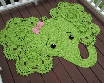 Crochet Elephant Rug, Elephant Nursery Decor, Made to Order, You Choose Colors