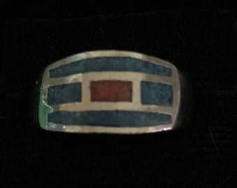 Vintage Turquoise & Coral Silver Mexican Ring (ABX1B)