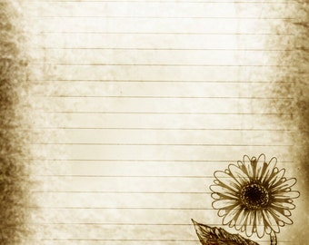 Printable Journal Page, Daisies, Digital Lined Writing Paper, Printable Stationery, Digital Stationery, Journal Paper
