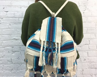 vintage woven mexican blanket backpack / striped braided rucksack backpack with tassels / woven cotton striped mexican beach bag