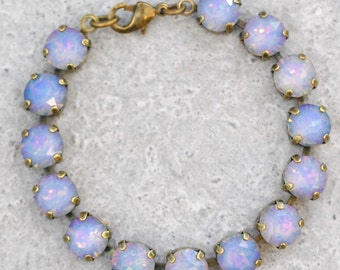 Pastel Rainbow Bridesmaid Bracelet Swarovski Crystal White Opal Rainbow Rhinestone Tennis Bracelet Vitrail Light Lavender Bridesmaid Wedding