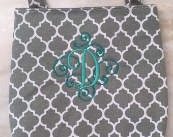 Gray Quatrefoil Car Trash Bag, Auto Accessory Holder, Kids Toy Holder, Camper Accessories, Mothers Day, Graduation Gift