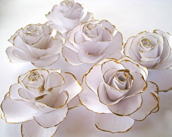Set of 6 white paper roses white paper flowers gold stem set of 6 white paper roses white paper flowers gold stem flowers spring summer wedding decoration paper wedding decor table centerpiece mightylinksfo