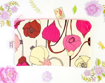 Zipper Pouch Cosmetic Bag Clutch Zipper Coin Purse Gift for Her Pencil Pouch Organiser Pink Peonies