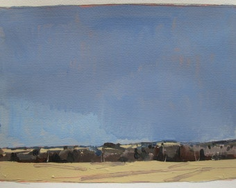 10 Saved Acres, From Afar, Original Spring Landscape Painting on Paper, Stooshinoff