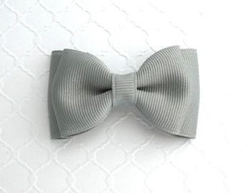 """Light Grey Hair Bow ~ 3"""" Baby Toddler Girls Simple Classic Hair Bows"""