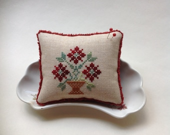 Red floral cross stitched pin cushion/bowl filler/pillow.