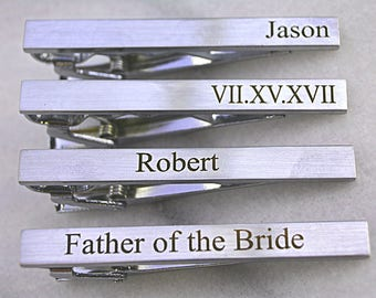 Monogram Tie Bar Clip Silver, Custom Wedding Tie Clip for Groom, Engraved Tie Clip, Fathers Day Gift, Best Man, Custom Groomsmen Tie Clip