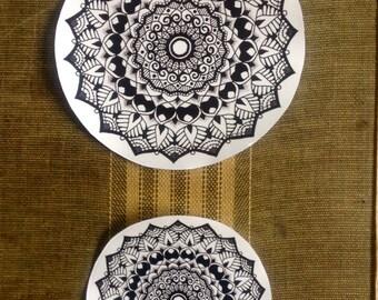 Mandala Sticker Clear Vinyl Indoor / Outdoor Quality // laptop sticker // yoga // henna // pen and ink // zen doodle