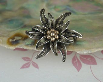 Antique 800 Silver Filgree Flower Brooch with Shaped Petals