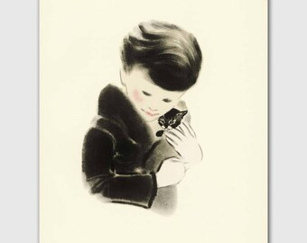 "Cat Gifts, Vintage Nursery Art Print (Baby Boy Nursery Decor) Cat Print 8x10 --- ""I Want This Kitten"""