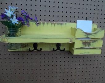 Yellow Mail Organizer/Mason Jar Wall Holder/Kitchen Decor/Office Decor
