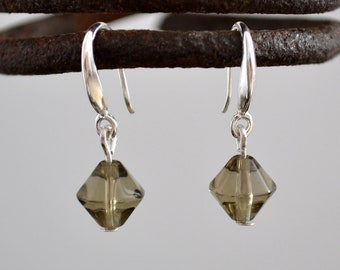 Gray glass silver earrings, Gray glass 925 silver earrings, Glass silver earrings, Gray glass sterling silver earrings, Gray glass earrings.