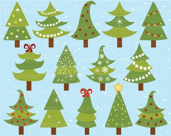 Clipart - Funky, Curly Christmas Trees - Digital Clip Art (Instant Download)