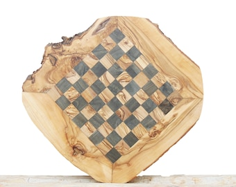 Unique Olive Wood Natural Edges Rustic Chess Set Board 14 Inch, Dad gift #06