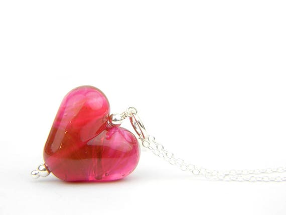 Art Glass Pendant - Cranberry Puffy Heart Glass Bead Sterling Silver Pendant - Classic Collection