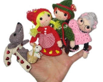LITTLE Red Riding Hood Finger Puppets PDF Email knit PATTERN