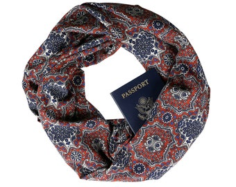 Rustic Boho Travel Infinity Scarf w/ {Secret Pocket}