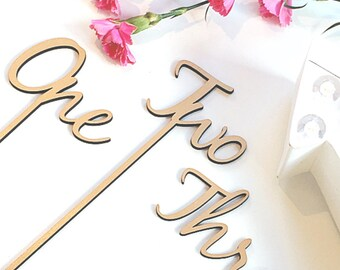 Wooden Table Numbers - Table Numbers on Sticks - Freestanding Table Numbers - Wedding Table Numbers Small