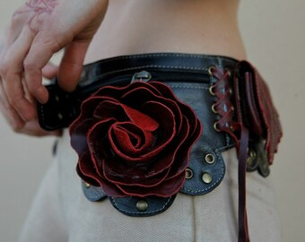 Women's Leather Utility Hip Belt with Oversized Leather Flowers