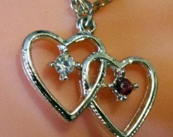 Vintage Gold Double Heart Pendant & Chain