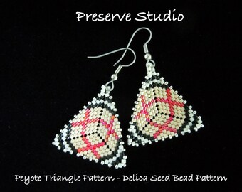 Plaid To Me Peyote Triangle Delica Seed Bead Pattern, Peyote Earring Pattern, Beaded Triangle Pattern, DIY Earrings, Peyote Stitch