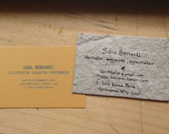 50 x Business Card in grey hand made paper with Earth