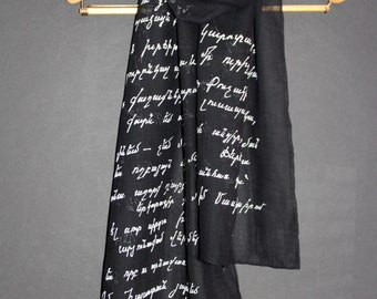 Armenian Letter,Hand painted scarf,Wool Silk, Long black wrap shawl,Armenian scarf,Armenian cross,Armenian poetry,Painted silk wool, Batik