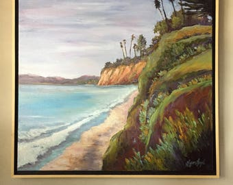 Butterfly Beach Painting, Large Beach oil painting framed, Santa Barbara beach framed painting, Ocean oil painting, ocean oil painting,