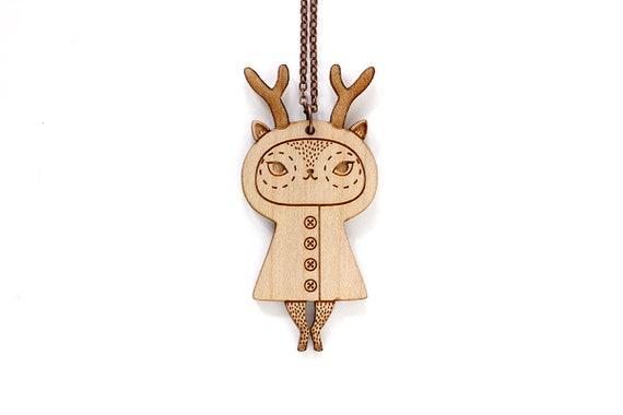Deer pendant - reindeer necklace - cute doe jewelry - illustrated animal jewelry - kawaii doll jewellery - lasercut wood - lasercutting