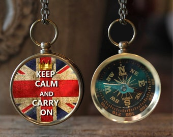 Keep Calm and Carry On British Flag Compass, Necklace Jewelry, Compass Necklace, Photo Pendant,  Gift Idea, Key Chain, Photo Key Chain, J