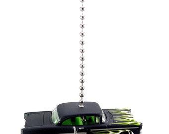 1955 Chevy Black Diecast Ceiling Light Fan Pull Ornament - HOT WHEELS MODEL 1/64