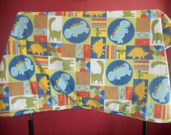 Dinosaur Fleece Blanket--lap size
